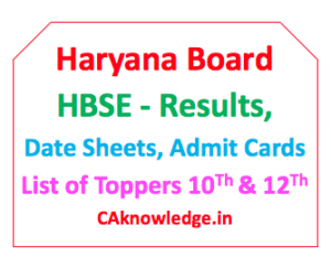 Haryana Board HBSE CAknowledge
