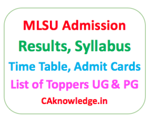 MLSU Admission, Result, Time Table, Syllabus, Admit Card CAknowledge