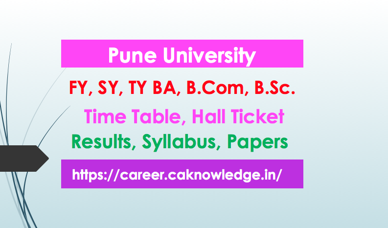 Pune University Result, Time table, Hall ticket