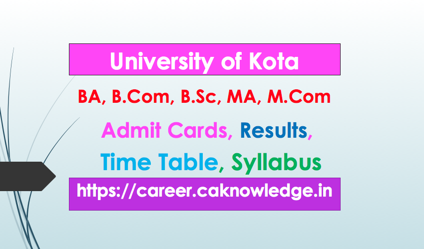 UOK BA, B.Com, B.Sc, MA, M.Com Result, Time Table, Admit Card
