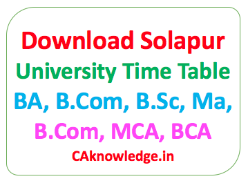 Solapur University Time Table 2019 B Com, BA, B Sc, MA, M Com