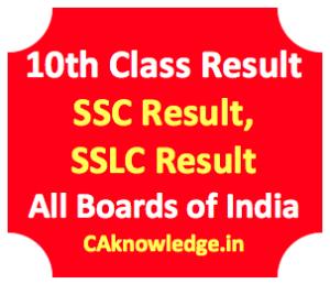 10th Result, SSC Result, SSLC Result