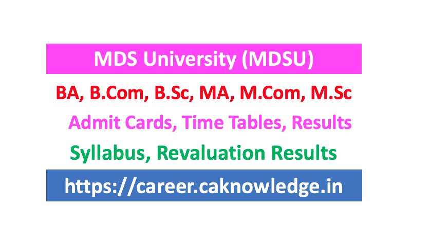MDSU Result, Time Table, Admit Card, Syllabus, Exam Form