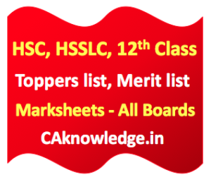 HSC, HSSLC, 12th Toppers list, Merit list, Marksheets