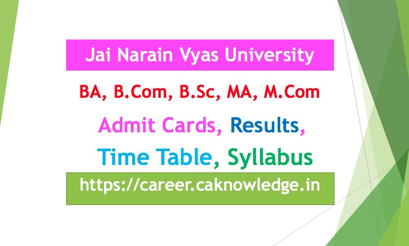 JNVU BA, B.Com, B.Sc, MA, M.Com Result, Time Table, Admit Card