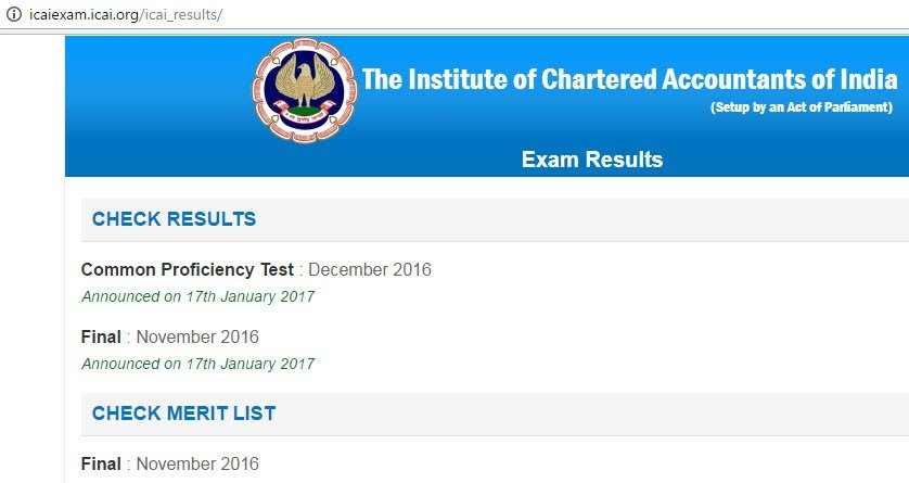 CA Final Result Nov 2016, CA CPT Result 2017