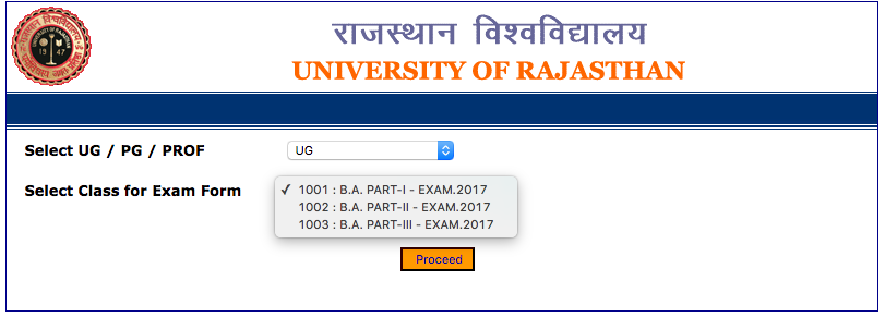 Uniraj BA Admit Card 2017