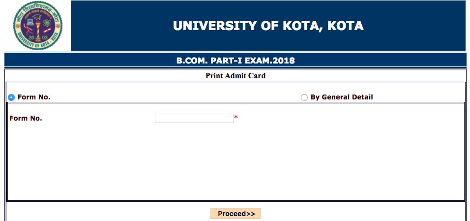 UOK B.Com Admit Card