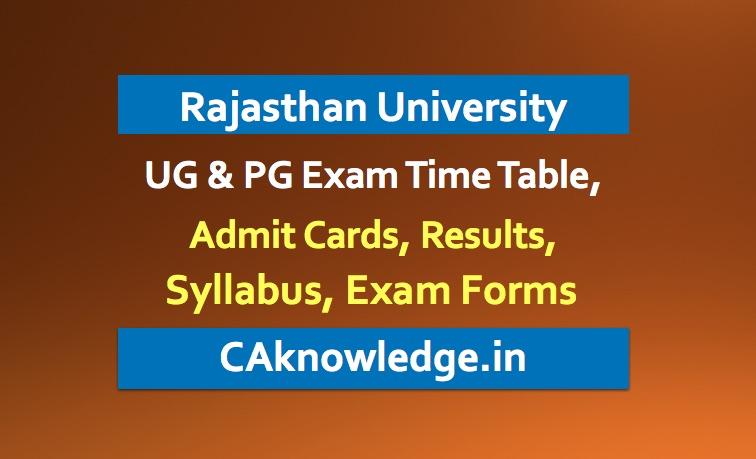 Rajasthan University Uniraj Time Table, Admit Card, Result, Syllabus