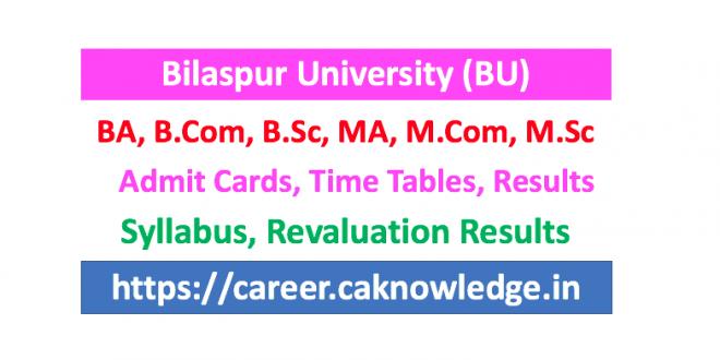 Bilaspur University Result, Time Table, Syllabus, Admit Card