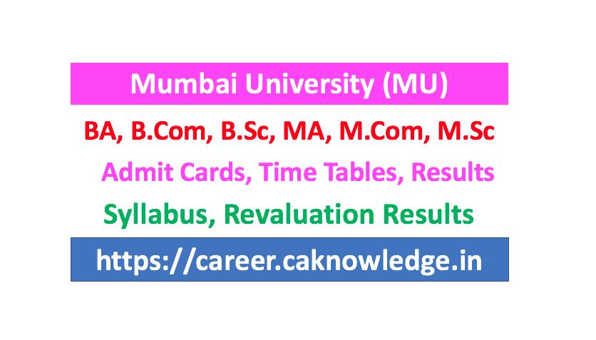 Mumbai University B SC, M Sc Revaluation Result 2019 - MU Result