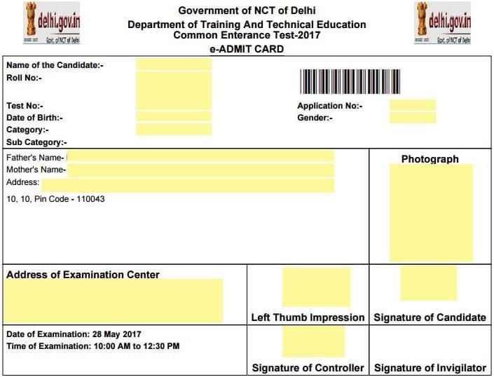 CET Delhi Admit Card