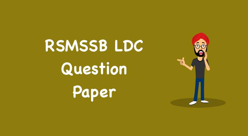 RSMSSB LDC Question Paper
