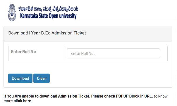 KSOU B.Ed Hall Ticket 2020