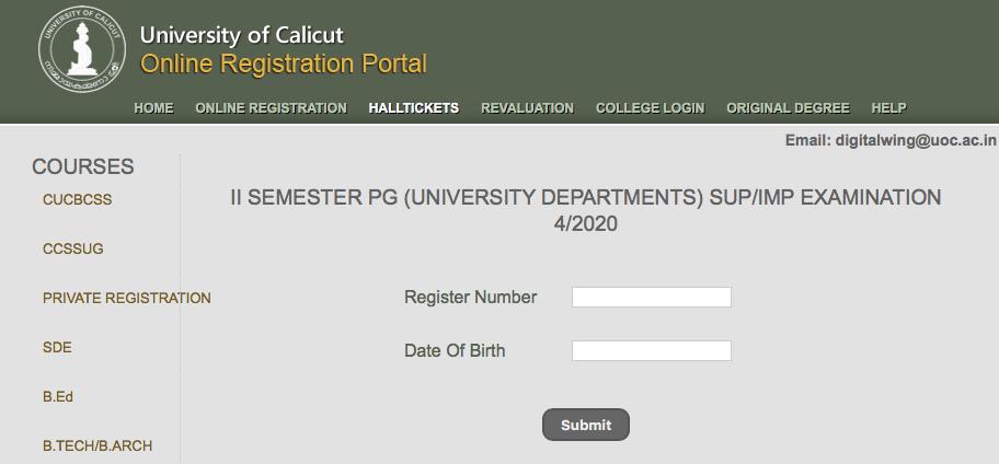 Calicut University Hall Ticket PG