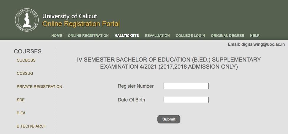 Calicut University B.Ed Hall Ticket